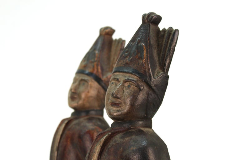 Americana Hessian Soldier Andirons in Painted Cast Iron For Sale 4