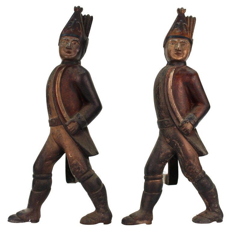 Americana Hessian Soldier Andirons in Painted Cast Iron For Sale