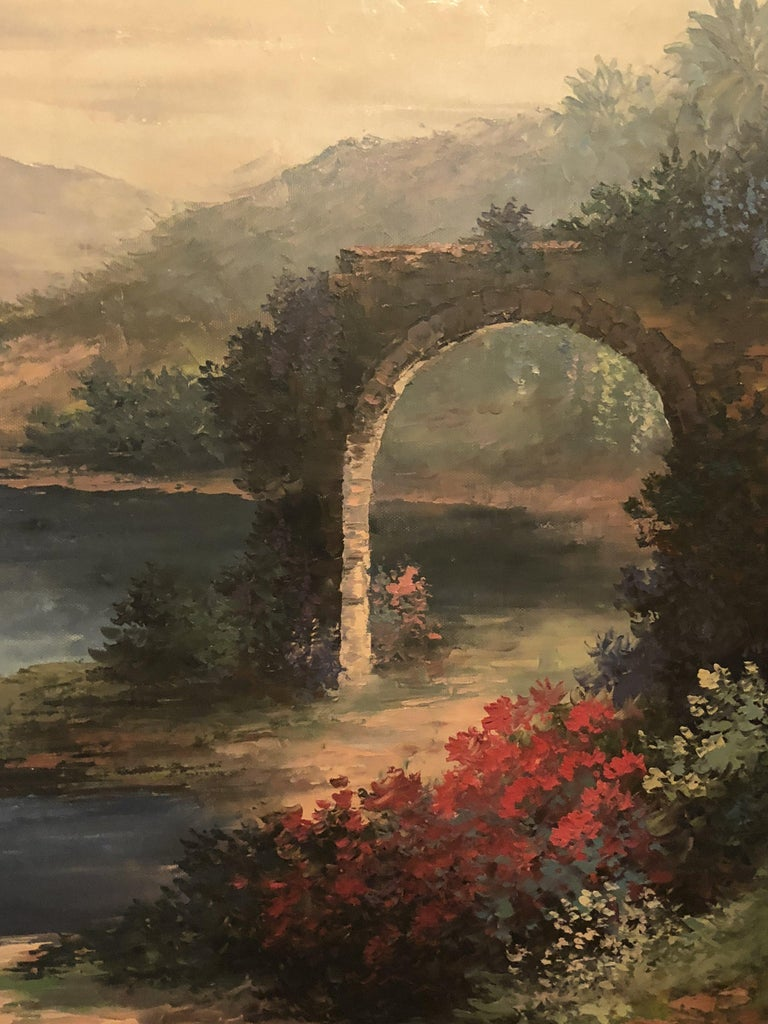 Americana Landscape Oil on Canvas Painting Signed P. Paul, Framed In Good Condition For Sale In Plainview, NY