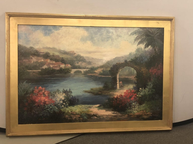 Americana Landscape Oil on Canvas Painting Signed P. Paul, Framed For Sale 3