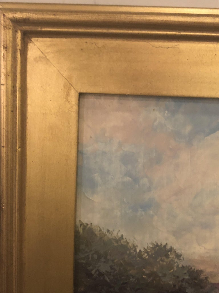 Americana Landscape Oil on Canvas Painting Signed P. Paul, Framed For Sale 4