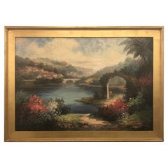 Americana Landscape Oil on Canvas Painting Signed P. Paul, Framed