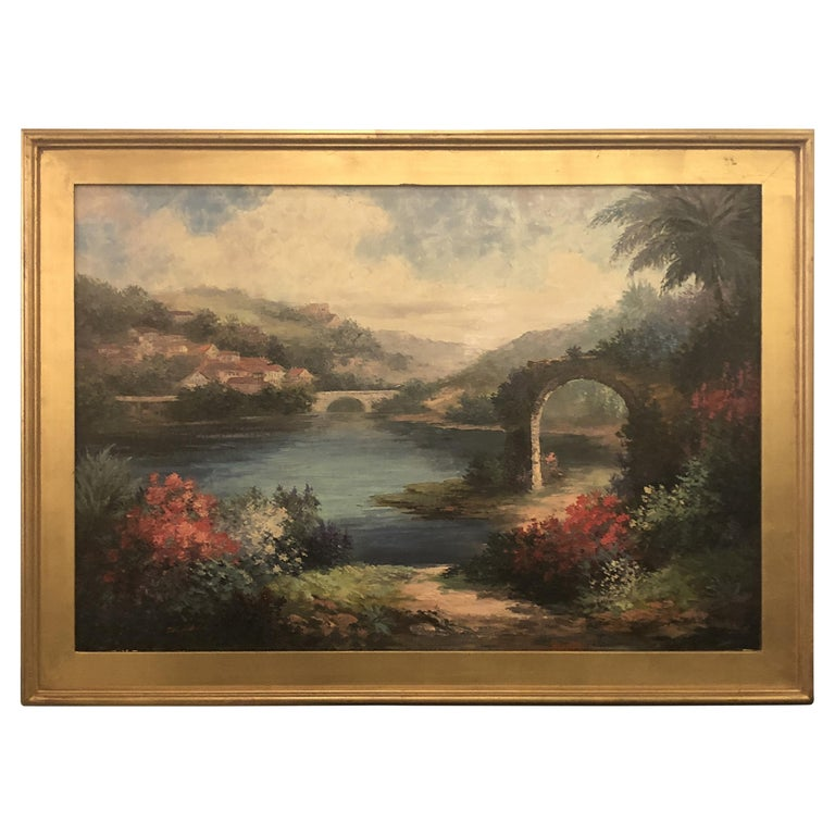 Americana Landscape Oil on Canvas Painting Signed P. Paul, Framed For Sale