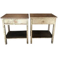 Americana Pair of Maine Nightstands with Original Ivory Paint