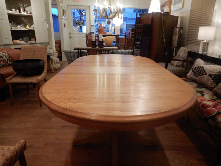 Hand-Crafted Americana Solid White Oak Dining Room Table For Sale