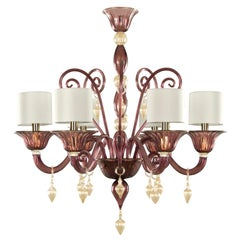 Italian Chandelier 6arms Amethyst gold Murano Glass with Lampshade by Multiforme