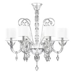 Chandelier 6 arms Crystal Rigadin Murano Glass handmade pendants by Multiforme