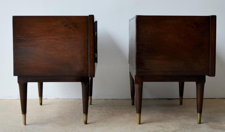 Brass Americano Escandinavo Jean-Michel Frank Attrib Polished Lignum Vitae Side Tables For Sale