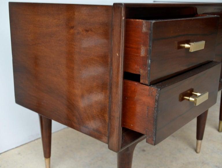 Americano Escandinavo Jean-Michel Frank Attrib Polished Lignum Vitae Side Tables For Sale 3