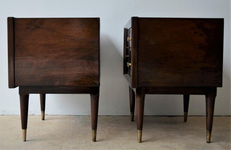 Mid-Century Modern Americano Escandinavo Jean-Michel Frank Attrib Polished Lignum Vitae Side Tables For Sale