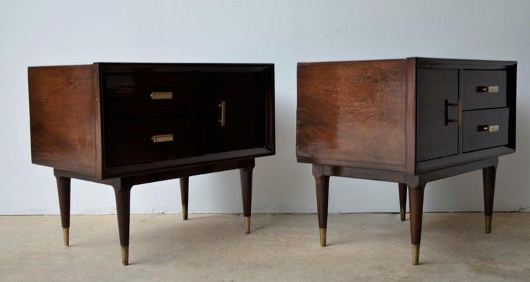 20th Century Americano Escandinavo Jean-Michel Frank Attrib Polished Lignum Vitae Side Tables For Sale