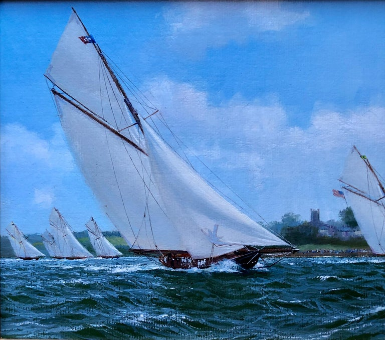 Yachts racing. Oil on panel, signed lower right. Renard was born in Huddersfield, England in 1947. Although he was interested in art and clearly gifted artistically from an early age, he chose to go to teachers training college at Liverpool