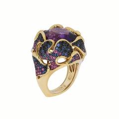 Amethyst 11.87 Carat Pink Blue Black Sapphire 18 Karat Yellow Gold Ring