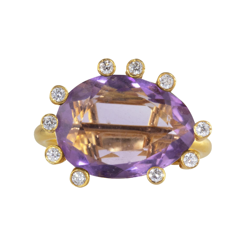 Ico & the Bird Fine Jewelry Amethyst Diamond 18k Gold Ring