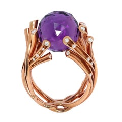Amethyst 13.99 Carat Diamonds 18 Karat Yellow Gold Ring