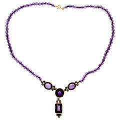 Amethyst 14 Karat Yellow Gold Diamonds Drop Necklace