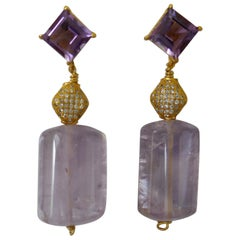 Amethyst 14K Gold Plated on 925 Silver Post Cubic Zirconia 925 Vermeil Earrings