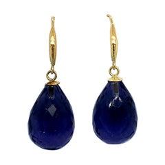 Amethyst 18 Carat Yellow Gold Drop Earrings
