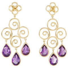 Amethyst 18 Carat Yellow Gold Earrings