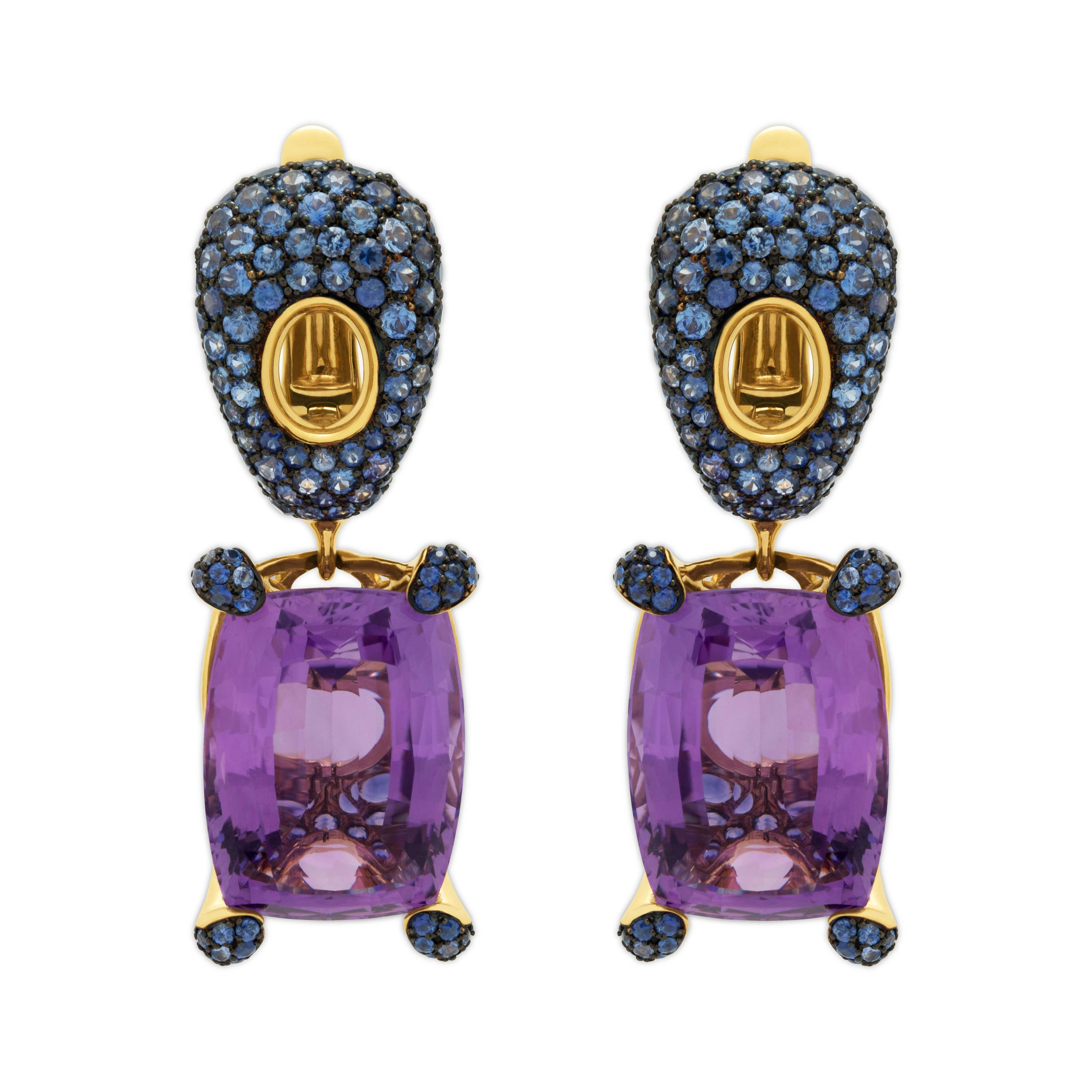 Amethyst 18.50 Carat Blue Sapphires 18 Karat Yellow Gold Earrings