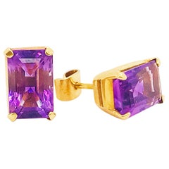 Amethyst 18K Gold Earring, 9.28 Carat Studs 18Kt Yellow Gold Emerald Cut, 18 kt