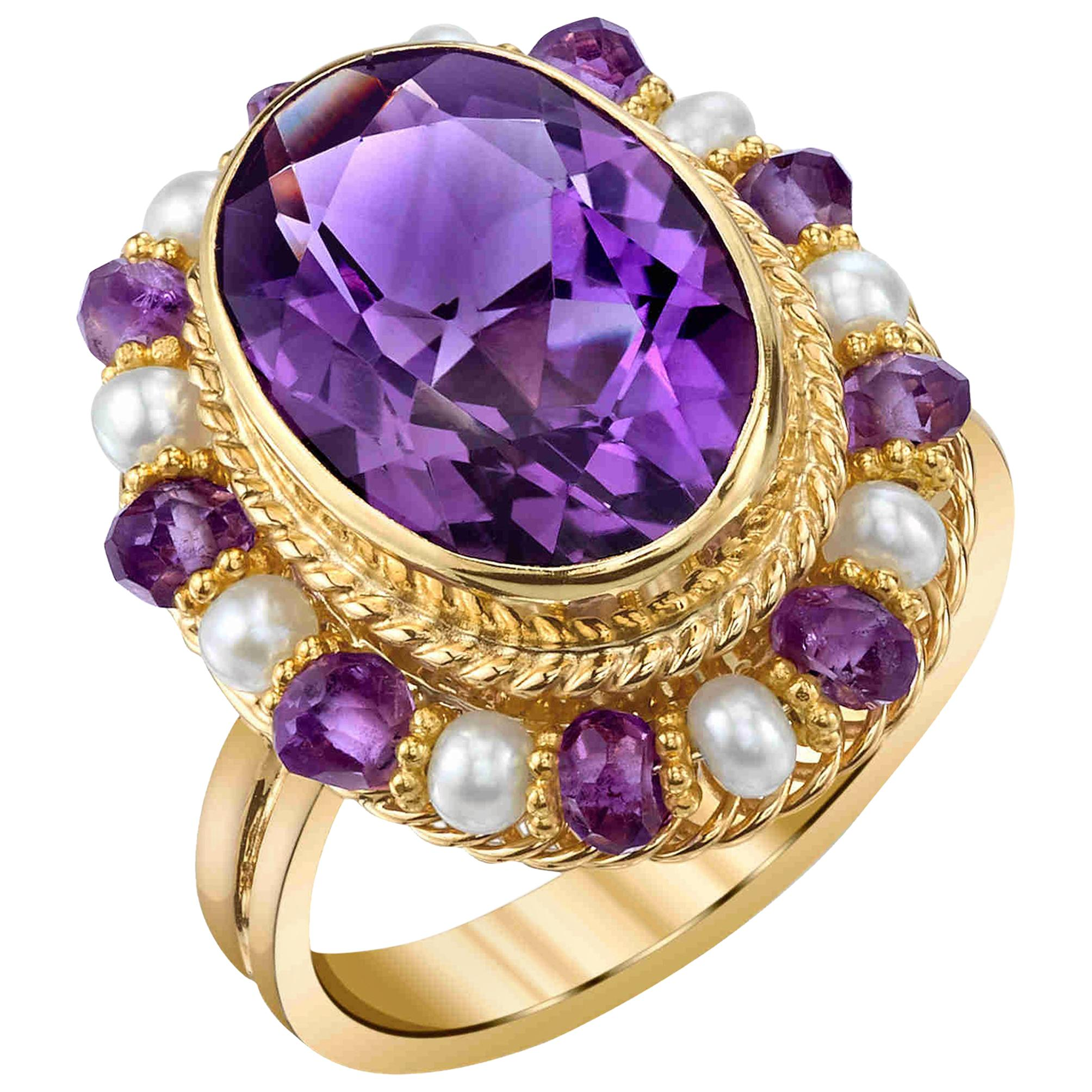 Amethyst Oval, Seed Pearl, Amethyst Bead Yellow Gold Filigree Cocktail Ring