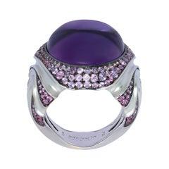 Amethyst 21.33 Carat Sapphire 18 Karat White Gold Ring