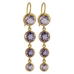 Ico & the Bird Fine Jewelry Amethyst 4-stone 22 Karat Gold Earrings