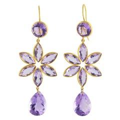Ico & the Bird Fine Jewelry 32 carat Amethyst 22 Karat Gold Earrings