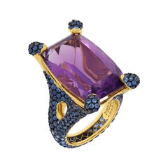 Amethyst 22.06 Carat Blue Sapphires 18 Karat Yellow Gold Ring