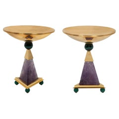 Amethyst, 24 K Gold Plated, Malachite Pairs of Centerpieces.