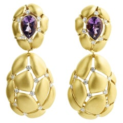 Amethyst 2.45 Carat White Diamonds 18 Karat Yellow Gold Earrings