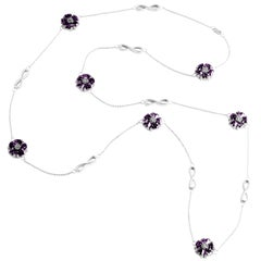 Amethyst Blossom Stone and Infinity Lariat Necklace