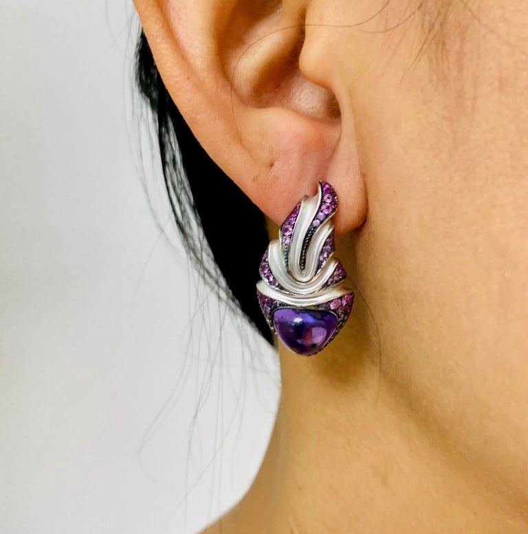 Amethyst 7.83 Carat Sapphire 18 Karat White Gold Earrings For Sale 3