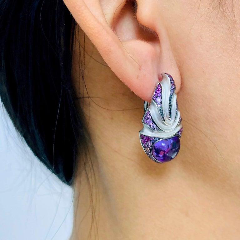 Amethyst 7.83 Carat Sapphire 18 Karat White Gold Earrings For Sale 4