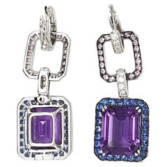 Amethyst, 9.77 Carat Pendant Earrings, in 18 Karat Gold with Corunds and Diamond