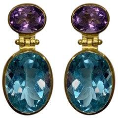 Amethyst and Blue Topaz Dangling Earrings in 18 Karat Gold, A2 by Arunashi