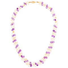 Amethyst and Citrine Briolette Necklace, 14 Karat Yellow Gold