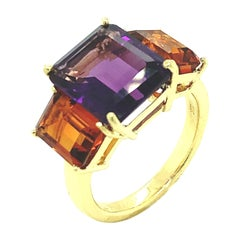 Amethyst and Citrine Emerald-Cut, Yellow Gold Three-Stone Cocktail Ring