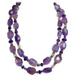 "54"" Long Amethyst and Citrine Necklace"