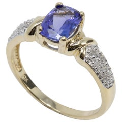 Amethyst and Diamond 10 Karat Yellow Gold Ring, Solitaire Prong Setting