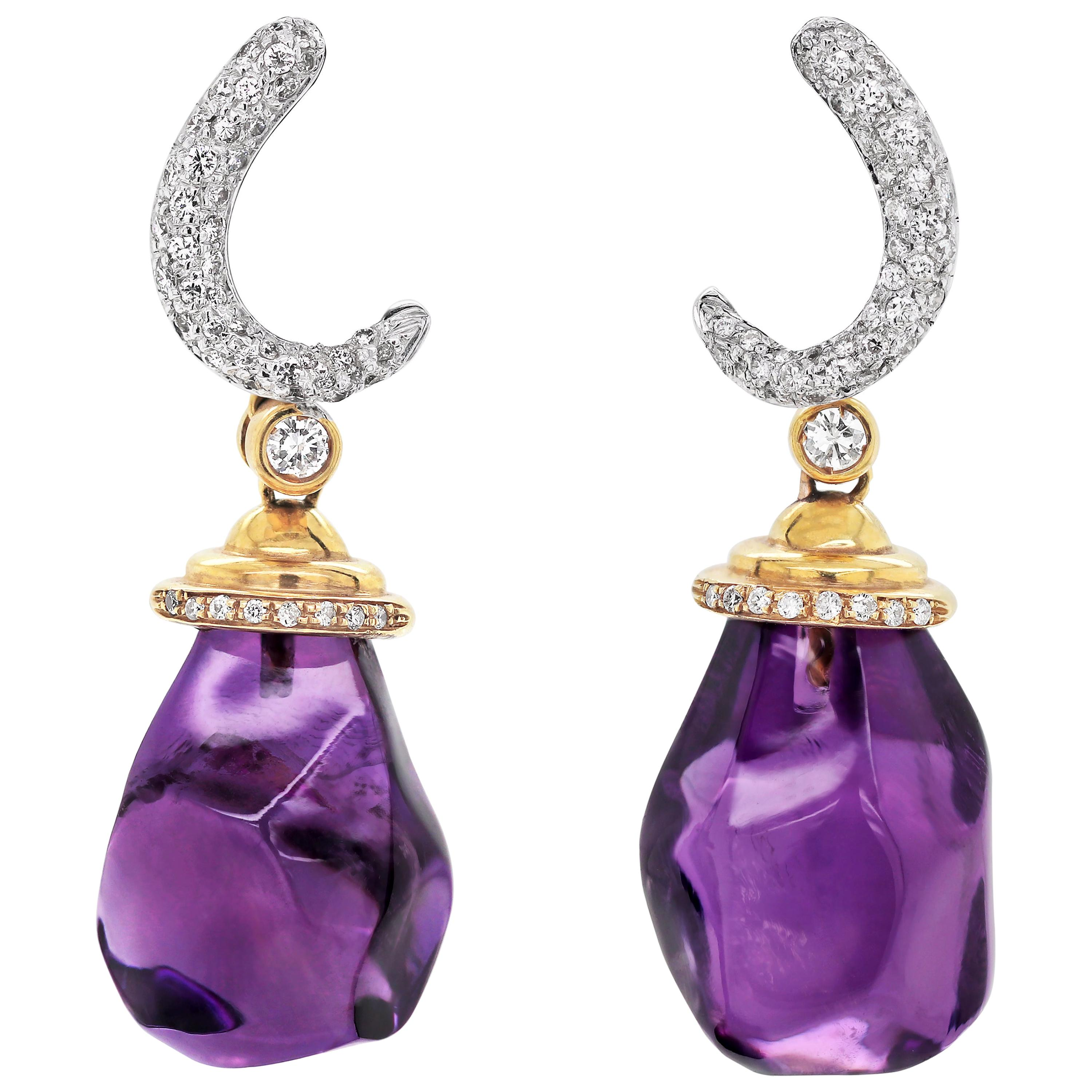 Amethyst and Diamond 18 Carat White and Yellow Gold Drop Earrings