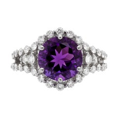 Amethyst and Diamond 18 Carat White Gold Cluster Ring
