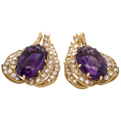 Amethyst and Diamond 18 Karat Yellow Gold Earrings