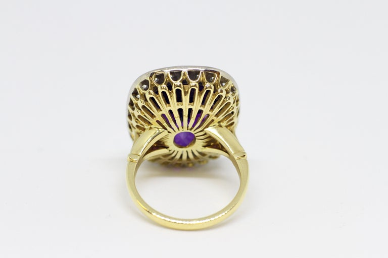 Modern Amethyst and Diamond Cocktail Cluster Ring