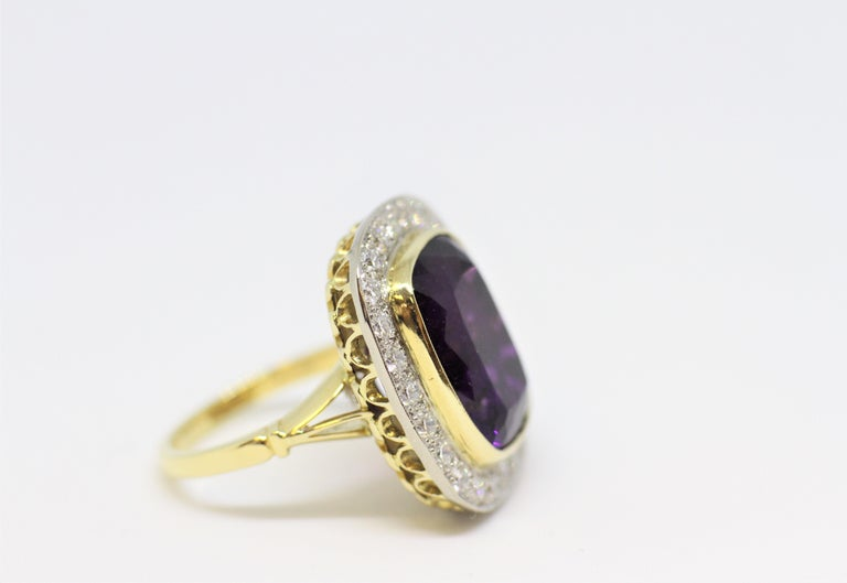Cushion Cut Amethyst and Diamond Cocktail Cluster Ring