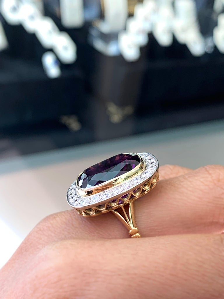 Women's Amethyst and Diamond Cocktail Cluster Ring