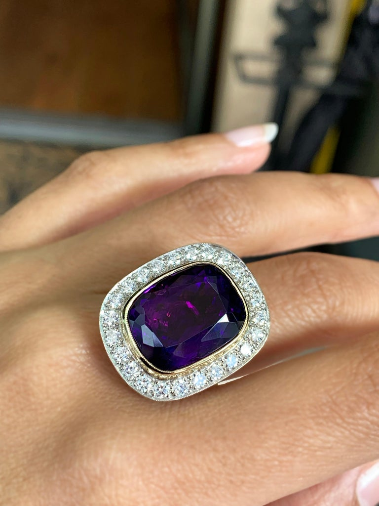 Amethyst and Diamond Cocktail Cluster Ring 1