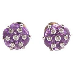 Amethyst and Diamond Earring Mounted in 18 Karat Gold
