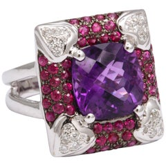 Amethyst and Diamond Fashion Ring